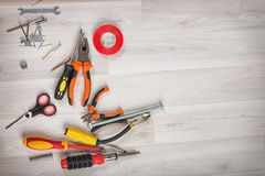 Tools on wooden background Stock Photography