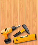 Tools on wooden background. Royalty Free Stock Images