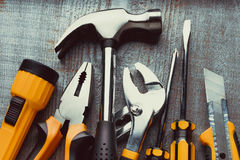 Tools on a wooden board Royalty Free Stock Photos