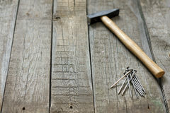 Tools on wooden boards abstract background Royalty Free Stock Photos