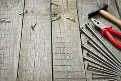 Tools on wooden boards abstract background Stock Images