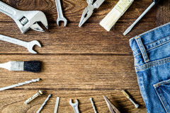 Tools on wooden with copy space Royalty Free Stock Photos