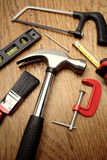 Tools on wooden panel Stock Photography