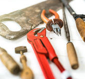 Tools on wooden table Stock Photo