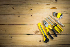 Tools on wooden table Stock Photos