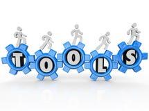 Tools Word Gears Cogs Men Turning Machine Stock Photo