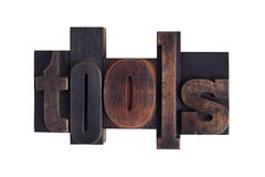 Tools, word written in letterpress type blocks Stock Photography