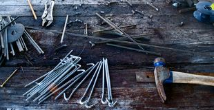 Tools on Workbench stock image