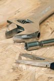 Tools. The working tool for construction and repair of house. Photos with limited depth of field Stock Photos