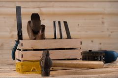 Tools for working with wood. Carpenter. woodwork tools in wooden box royalty free stock photos