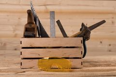 Tools for working with wood. Carpenter. woodwork tools in wooden box stock photo
