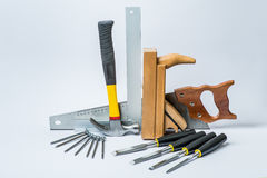 Tools for working with wood on white background Stock Photography