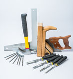 Tools for working with wood on white background Stock Image