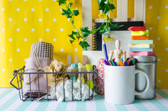 Tools and workspace. Corner store handicraft tools on colorful background Stock Images