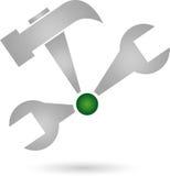 Tools, wrench, hammer, locksmith logo. Tools, wrench und hammer, locksmith logo Stock Photos
