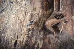 Tools, wrench On the old wooden floor Royalty Free Stock Images