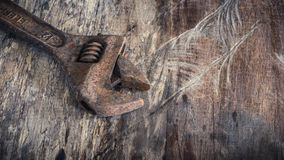 Tools, wrench On the old wooden floor Stock Photo