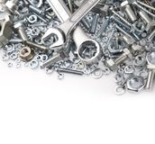 Tools. Wrenches on nuts and bolts Stock Image