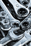 Tools wrenches, ratchets, nuts, bolts and screws Royalty Free Stock Photos