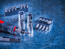 Toolset of screwdriver with stainless Royalty Free Stock Image