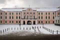 Toompea slott i den gamla staden i vinter, Tallinn, Estland Fotografering för Bildbyråer
