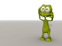 Toon alien in shock. Cartoon alien grasps his head in shock Stock Photography