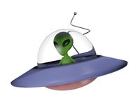 Toon alien on spaceship Stock Photo
