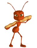 Toon ant 1. 3D render of a toon ant with a piece of bread royalty free illustration