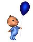 Toon Baby with Blue Balloon Royalty Free Stock Photography