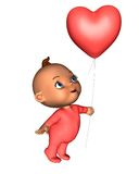 Toon Baby with Pink Heart Balloon. Toon baby wearing a pink baby grow and holding a heart-shaped balloon, 3d digitally rendered illustration Stock Image