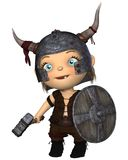 Toon Baby Viking. Toon style baby Viking with horned helmet, war hammer and shield, 3d digitally rendered illustration stock illustration