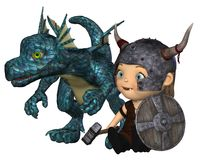 Toon Baby Viking and Pet Dragon Stock Photo
