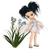 Toon Black-Haired Forget-Me-Not Fairy sveglio illustrazione vettoriale