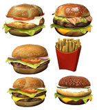 Toon burgers. 3D render of toon burgers and fries stock illustration