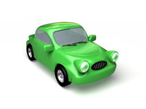 Toon car. Green car on white background. 3d render Royalty Free Stock Images