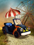 Toon car with an umbrella Stock Photo