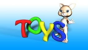 Toon Cat Figure avec le texte de JOUETS Images stock
