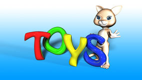 Toon Cat Figure with TOYS text. Toon Cat Figure holding TOYS text Stock Images