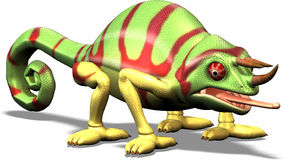 Toon chameleon. Colorful chameleon Stock Photo