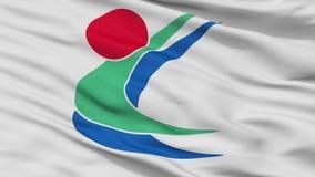 Toon City Flag, Ιαπωνία, νομαρχιακό διαμέρισμα Ehime, άποψη κινηματογραφήσεων σε πρώτο πλάνο απεικόνιση αποθεμάτων