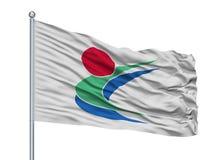 Toon City Flag On Flagpole, Ιαπωνία, νομαρχιακό διαμέρισμα Ehime, που απομονώνεται στο άσπρο υπόβαθρο Ελεύθερη απεικόνιση δικαιώματος
