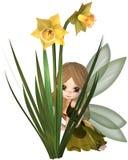 Toon Daffodil Fairy mignon, se cachant Image stock
