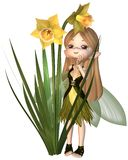 Toon Daffodil Fairy mignon, se tenant Photographie stock libre de droits