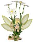 Toon Daisy Fairy bonito, sentando-se Imagens de Stock Royalty Free