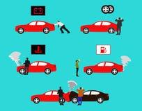 Toon de gebeurtenis van de rode auto de mislukking van diverse types van auto's op blauwe achtergrond toont stock foto's