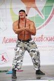Toon de groep atletisch Petersburg kampioen, meester van sporten Sergei Sebald Stock Foto's