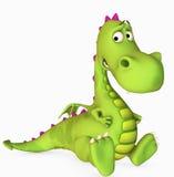 Toon dragon. Cute dracon sitting ,3d render Stock Photos