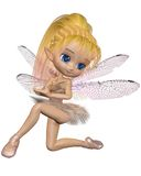 Toon Dragonfly Ballerina Fairy - Pink. Cute toon ballerina fairy with dragonfly wings wearing a pink tutu, 3d digitally rendered illustration Stock Images