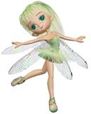 Toon Dragonfly Ballerina Fairy - vert Photos stock
