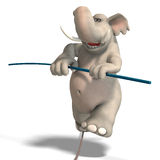 Toon elephant is balancing. A funny cartoon elephant is balancing over a rope. With Clipping Path over white royalty free illustration